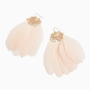 Light Pink Feather Statement Earrings